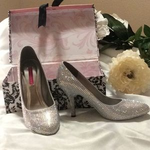 Bordello Iridescent Rhinestones high heels, size 8
